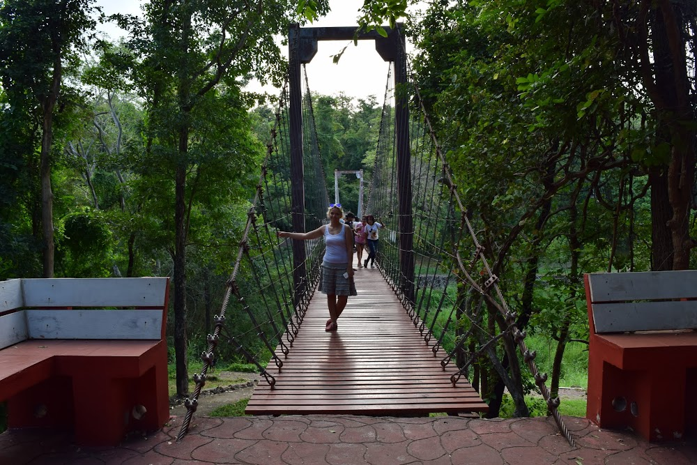 About to cross the bridge over the mouth of Khao Kradong volcano...