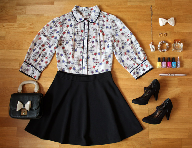printed blouse skater skirt fashion outfit flat lay from the high street