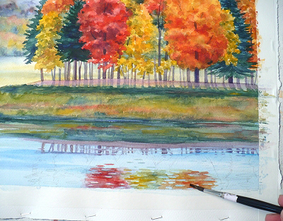 painting Fall Reflections watercolor
