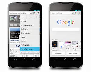 Chrome 31 Beta trên Android: thêm biểu tượng trang web ra màn hình chính, trang new tab mới