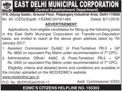 EDMC Advertisement 2016-2017 www.indgovtjobs.in