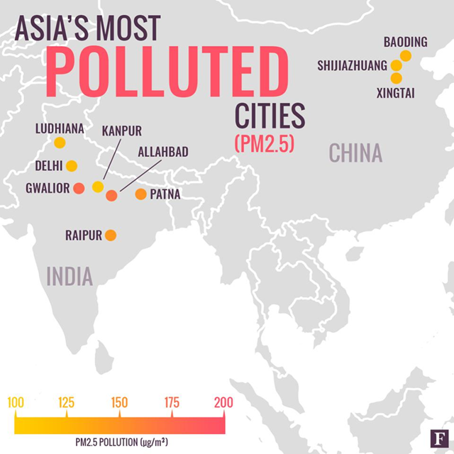 Map of the cities in India and China with the worst air pollution. Data: WHO. Graphic: Nick DeSantis / Forbes