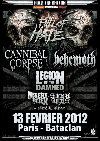 Cannibal Corpse / Behemoth / Legion of The Damned / Misery Index @ Bataclan, Paris 13/02/2012