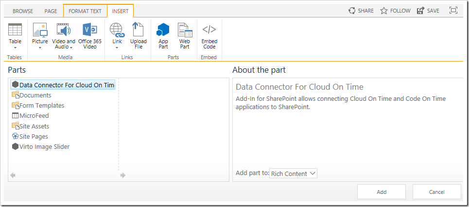 "Inserting the ""Data Connector For Cloud On Time"" web part to the page."
