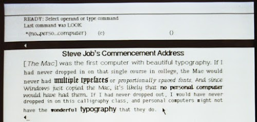 Closeup of Steve Jobs' commencement speech in the Bravo editor on the Xerox Alto. This shows a few of the proportionally-spaced fonts available on the Alto. It also demonstrates centered and  justified text.