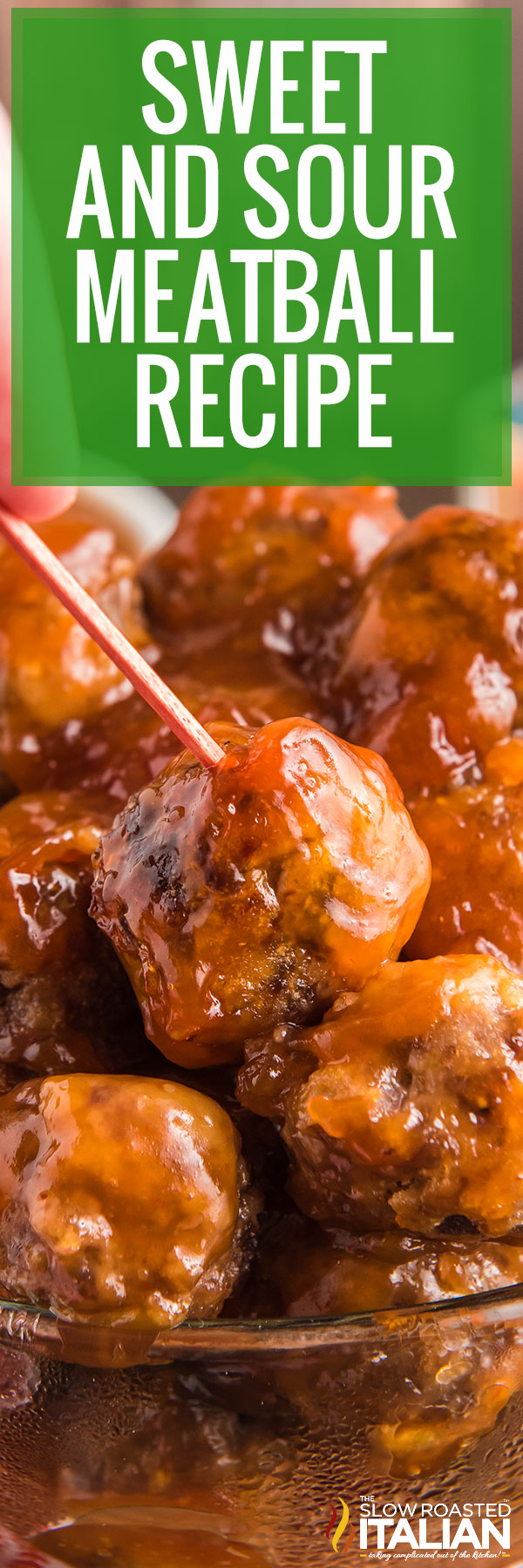 sweet and sour meatballs closeup