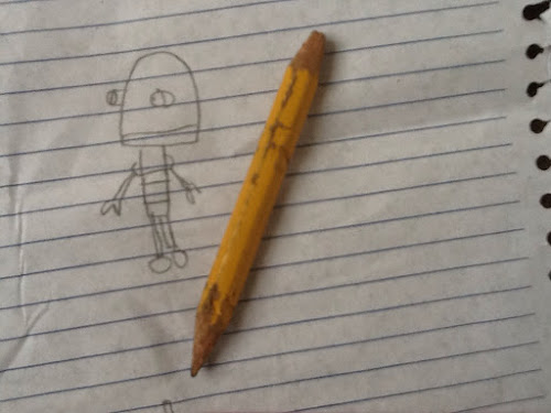 Bitten old pencil