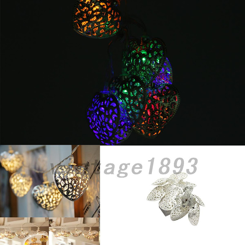 10LED Metal Battery Operated String Heart Lights Outdoor