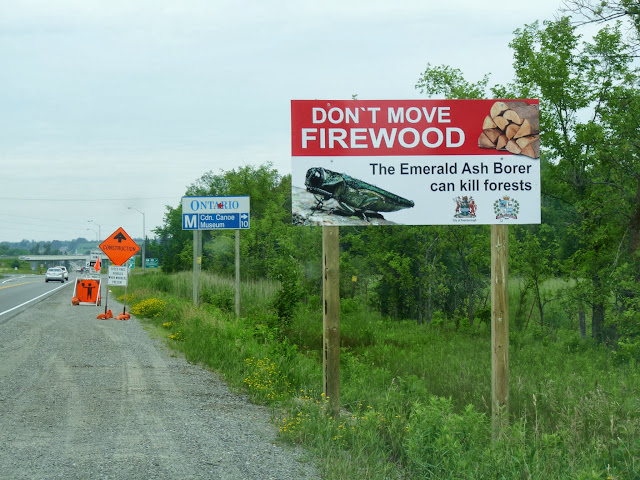 Sign posted outside of Peterborough, Ontario