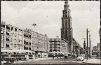 Groningen. Grote Markt met eerste gebouw wat uitsteekt Amsterdamsche Bank. Gelopen gestempeld in 1959.