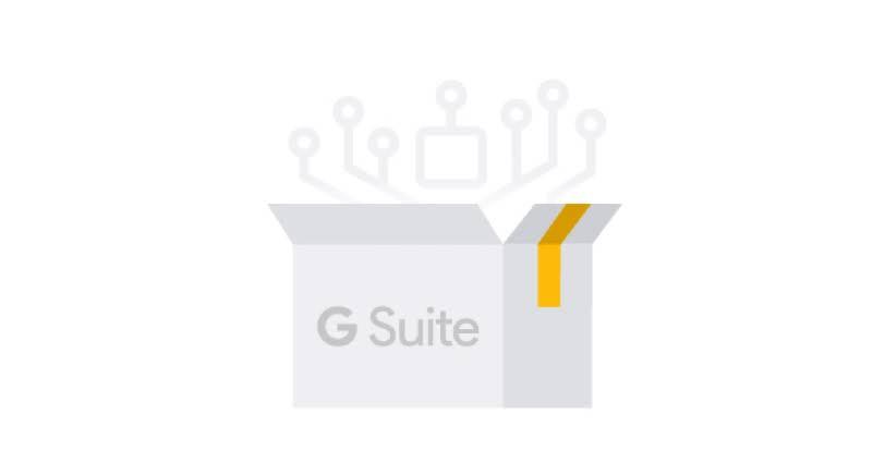 「利用 G Suite 推動貴機構發展」的圖示。一個 G Suite 盒子打開,上方有電路。