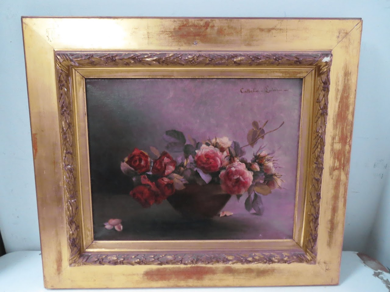 Signed Still Life Roses Painting by Ludovici