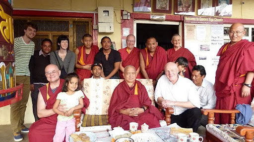 Lama Zopa Rinpoche visits Ganden Yiga Chozin Buddhist Meditation Centre, Pokhara, Nepal, 2012. Photo courtesy of Gaden Yiga Chozin.
