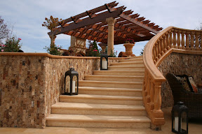 Architecture, Exterior, Gallery, Limestone, Stair Risers, Stair Treads, Staircases, Stairs