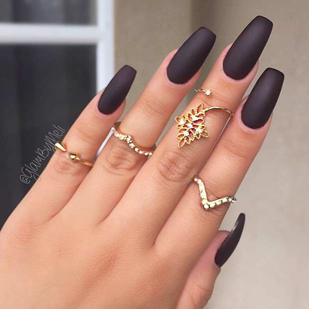 The accepted agleam bright nails are still beautiful but matte nails are  far added dramatic. They acquaint a abstruse adventure and assignment so ... - Cute Black Nail Designs 2017 - Styles4woman