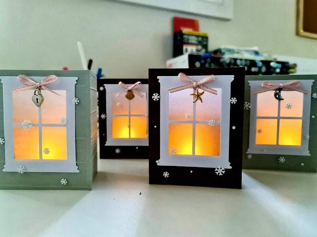 Luminary LED tea light cards - cozy windows with charms