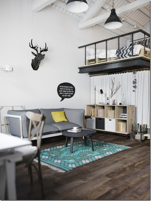 case e inetrni - mini loft praga - stile scandinavo (1)