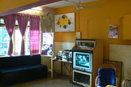 Humsafar drop-in center TV room