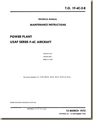 F-4C Power Plant Maintenance Instructions