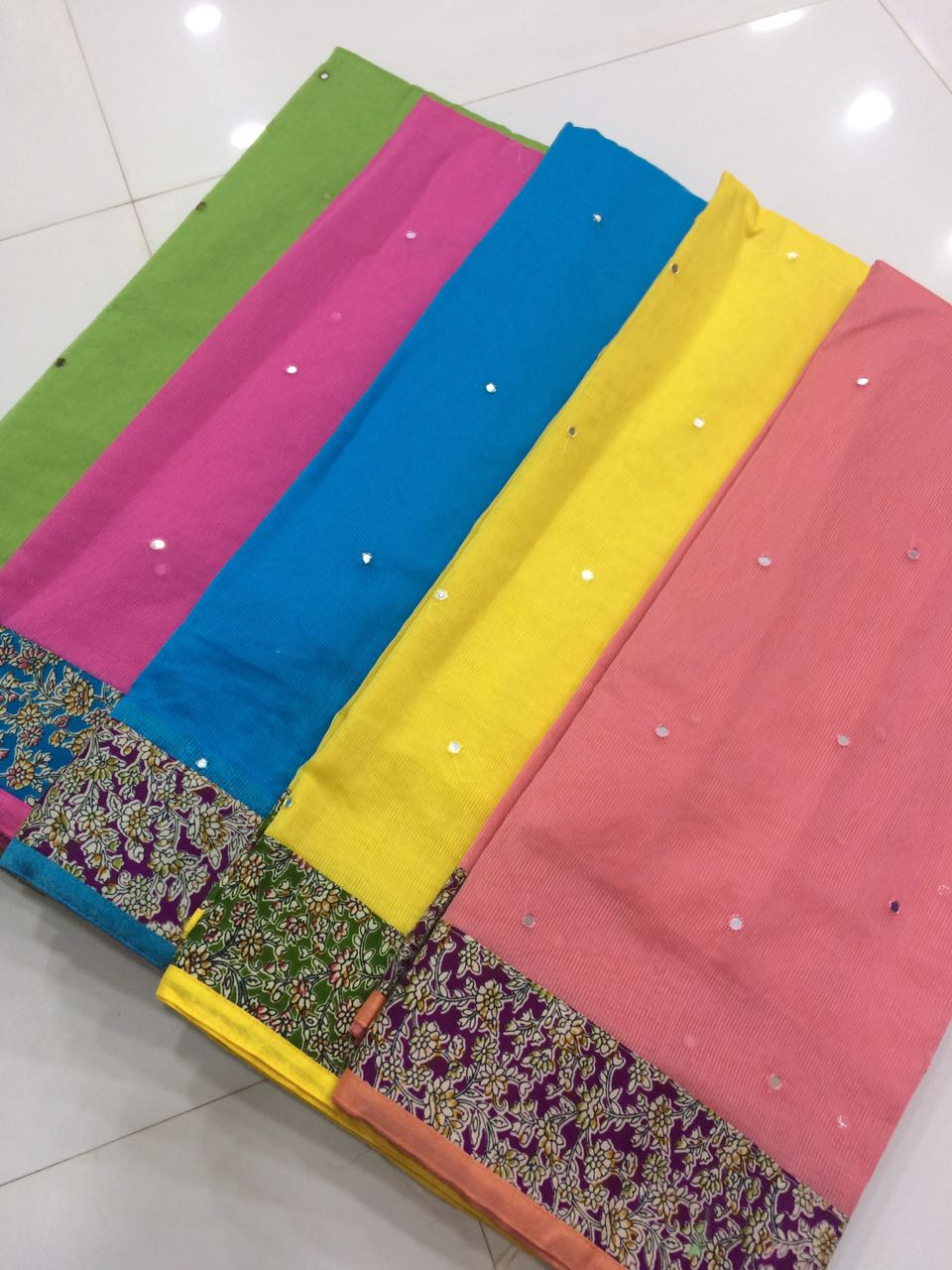 79c904d678 Pure kotta cotton sarees with patch border. Border colour blouse full mirror  work sarees. CODE : JC