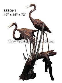 Bronze, Crane, Fountain, Heron, Statue