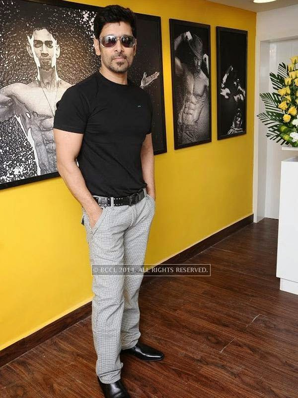 Vikram strikes a pose at the launch of the fitness studio Body Shape in Chennai.