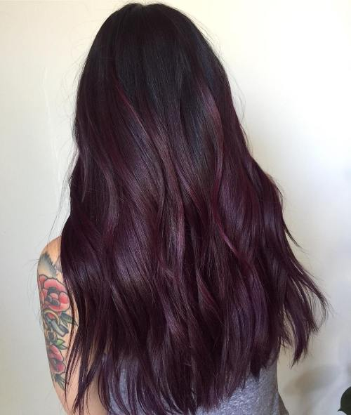 Plum hair color a beautiful contrast for woman 2018 9