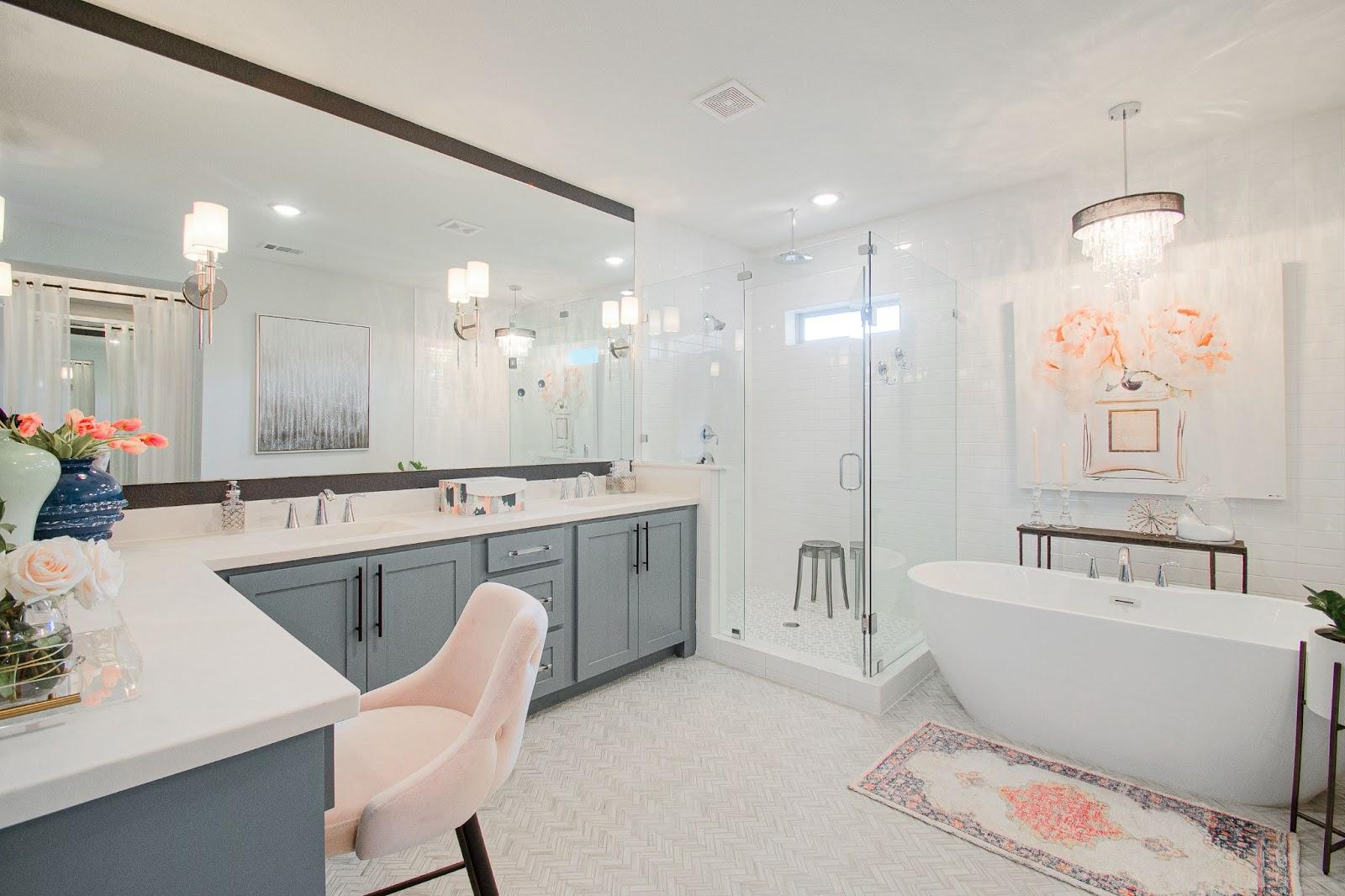 builder-grade home after custom interior design vanity sconces free standing tub decorated