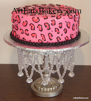 Lady's pink and black leopard print fondant birthday cake design. The insides were also leopard