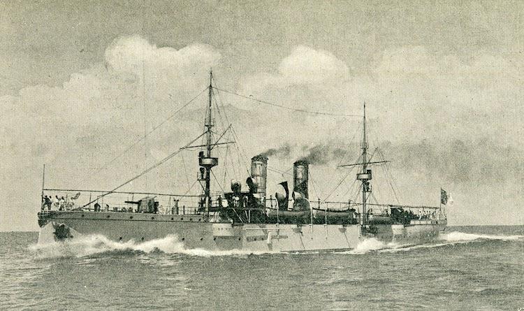 Fotocomposicion del ADAMASTOR. De la revista El Mundo Naval Ilustrado. Año 1898.JPG