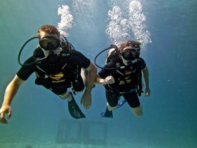 Lauren and me SCUBA diving