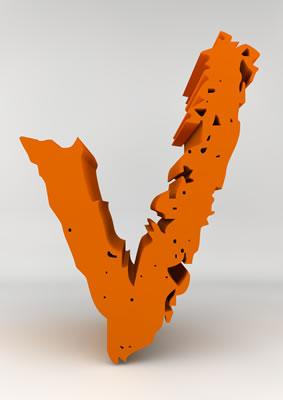 lettre 3D chiffron de craie orange - V - images libres de droit