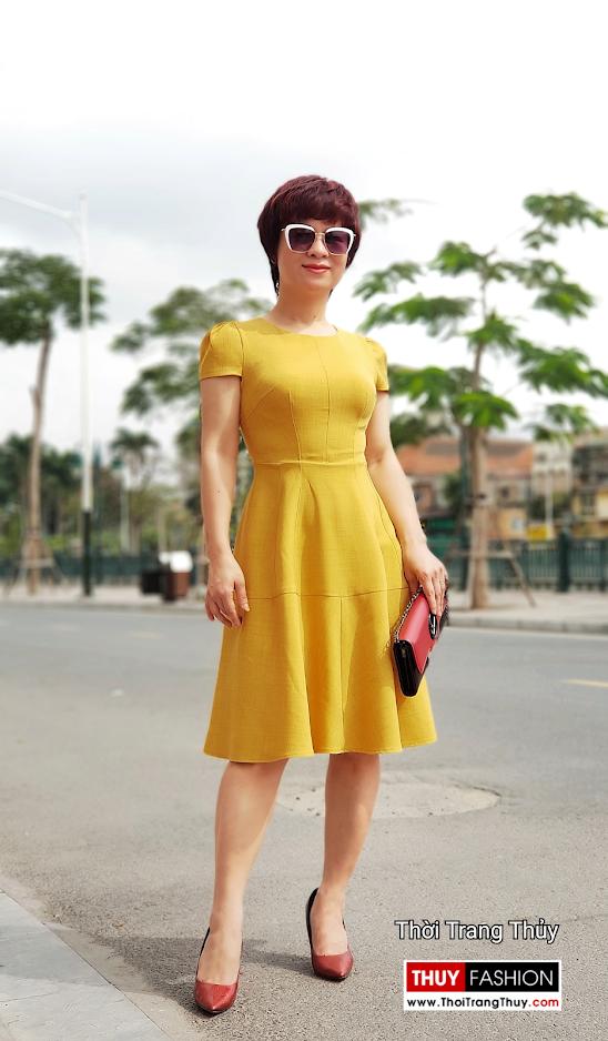 Váy xòe công sở dạo phố màu vàng cam V699 thời trang thủy sài gòn