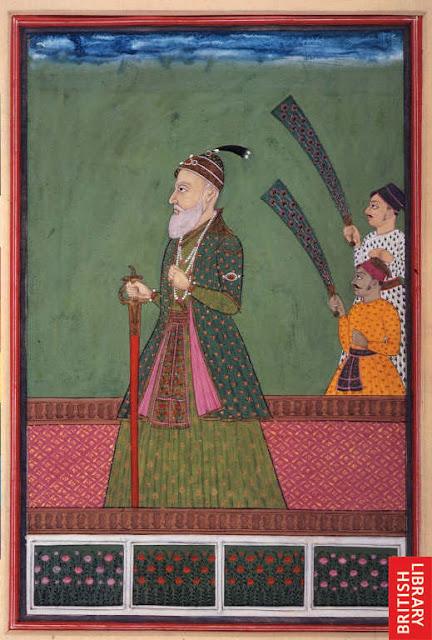 *A three-quarter length portrait of Mir Qamar ud-Din Nizam al-Mulk Asaf Jah (1st Nizam of Hyderabad 1724-48); opaque watercolour, c.1745* (BL)