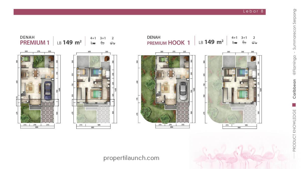 Rumah Caribbean Tipe 8x16 Denah Premium & Hook