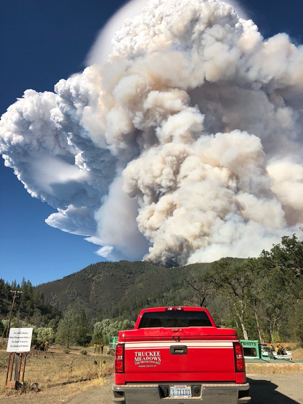 A pyrocumulus cloud over Californ'a Carr Fire on 29 July 2018, generated when the fire is so hot the air explodes upward, creating a new local weather pattern that can bring strong winds, lightning, and new fires. Photo: Truckee Meadows Fire Protection District