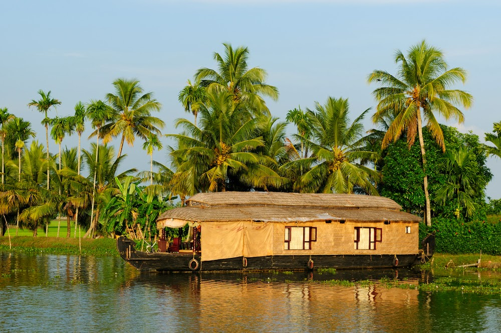 Backwater sailing in a Houseboat in Ashtamudi Lake, Kerala