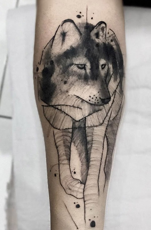 este_preto_e_cinza_tinta_aquarela_lobo_tatuagem