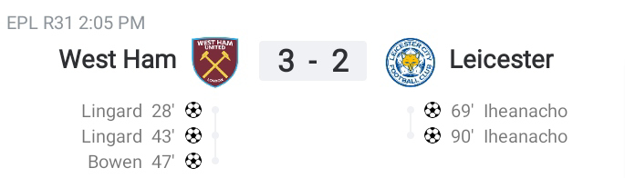 Premier League: Lingard shines with a brace as West Ham beat Leicester City 3-2 (Highlights) 2020-2021