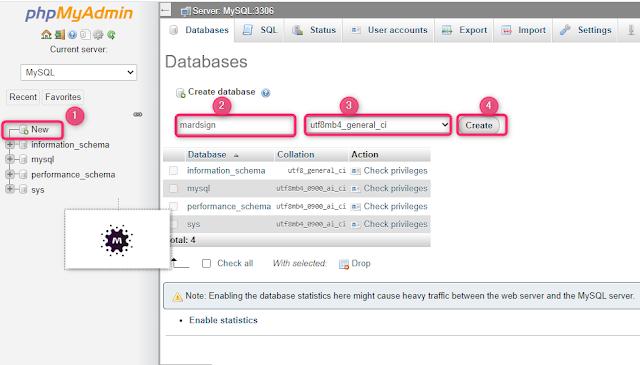 صورة (2) إنشاء قاعدة بيانات على السيرفر المحلي