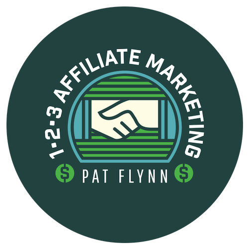 Image of two shaking hands surrounded by 1-2-3 Affiliate Marketing Pat Flynn
