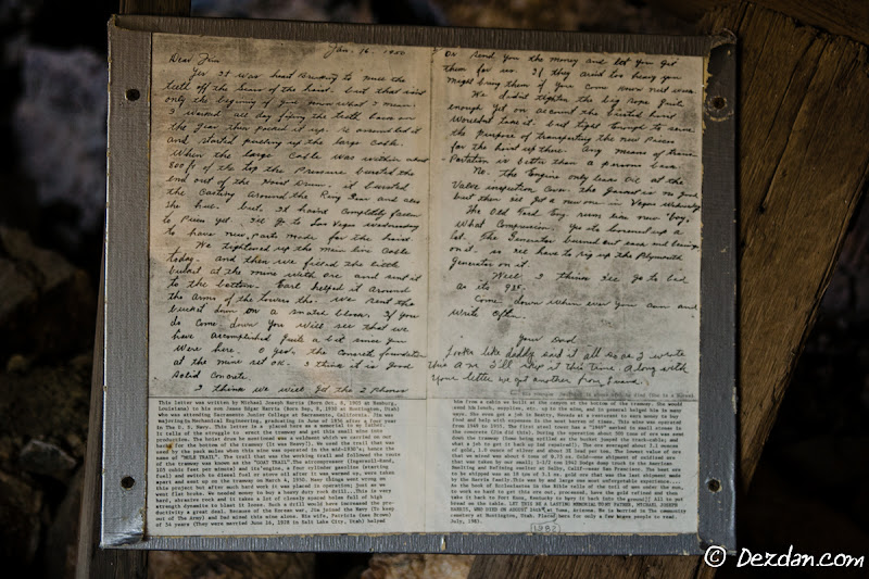A short-ways inside the mine we discover some history about the last owners of the mine. A transcription can be found that the bottom of the page.