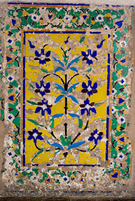 Artistic work on the interior wall of Jahangir's Tomb