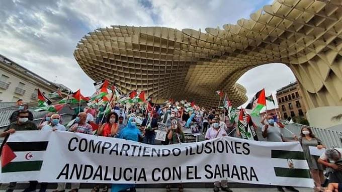 Manifestación en Sevilla en apoyo al pueblo saharaui