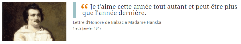 Lettre d'amour d'Honoré de Balzac
