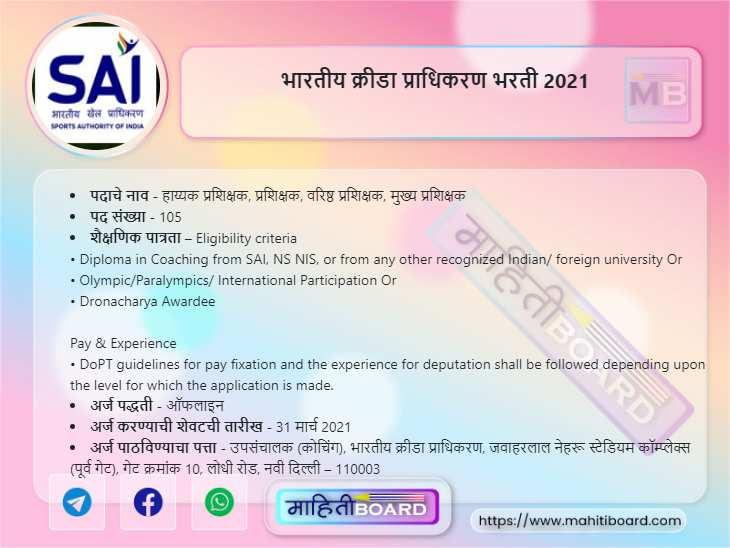 Sports Authority of India Recruitment 2021