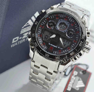 jam tangan D-ZINER DZ2599 Double time silver RED
