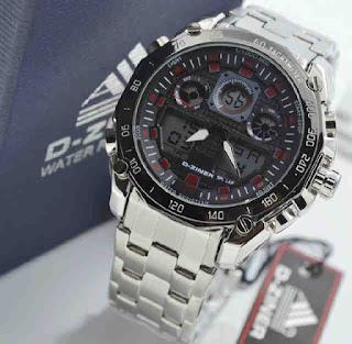 jam tangan D-ZINER DZ2599 Double time silver RED