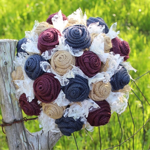 marine and wine bridal bouquet