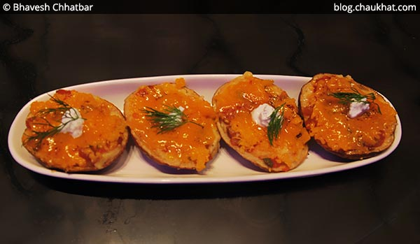 Top view of Loaded Potato Skins, BarBar, Phoenix Market City, Viman Nagar, Pune